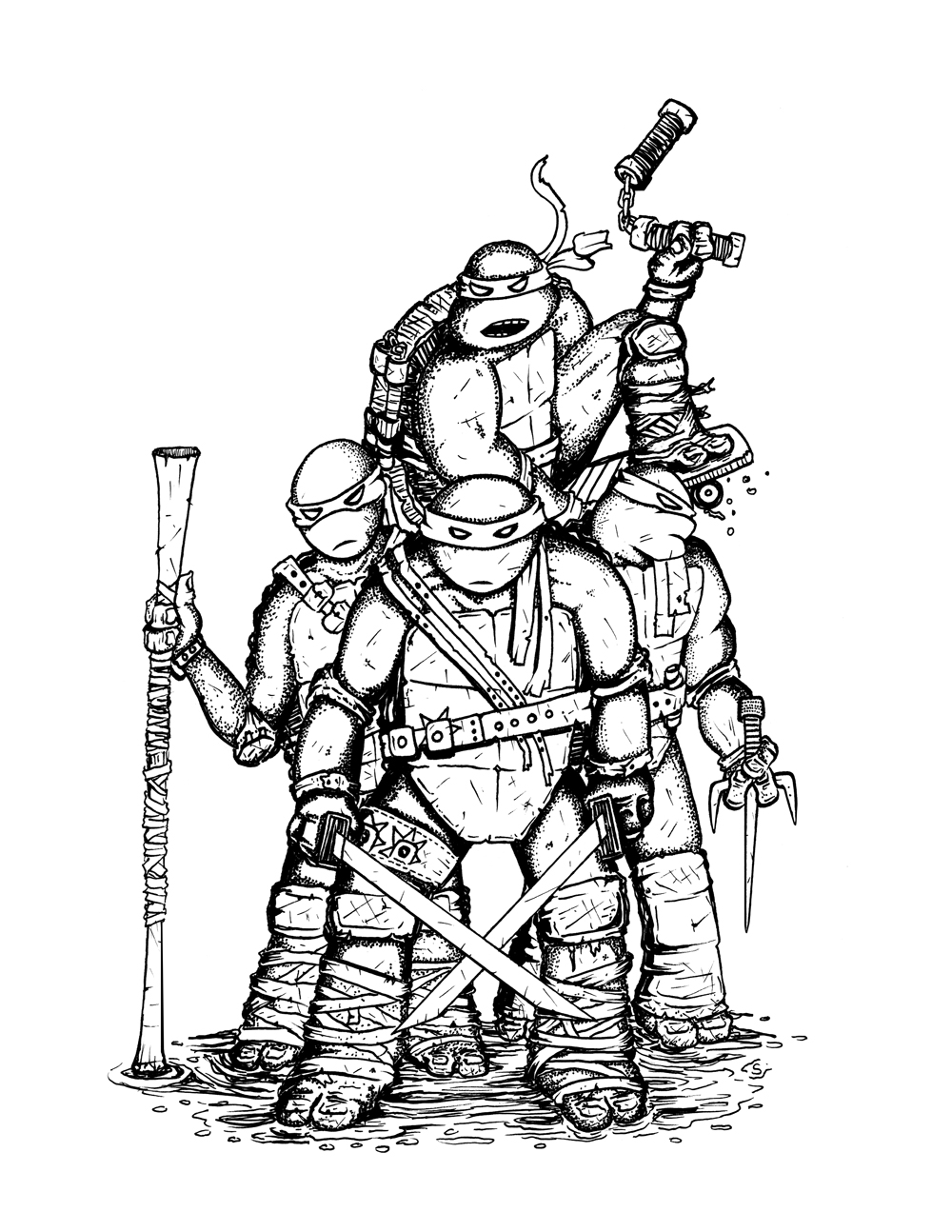 teenage mutant ninja turtles 2012 coloring pages - donatello tmnt 2012 coloring pages