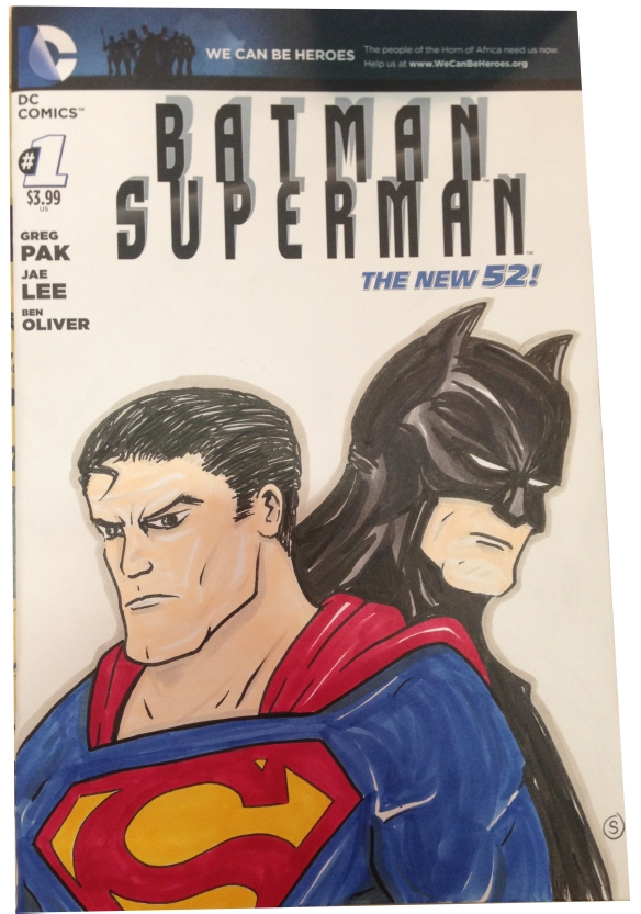 batman superman sketchover